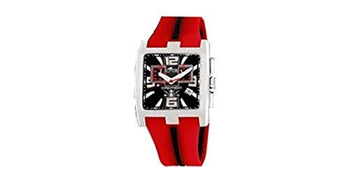 Reloj Lotus Caballero crono Correa Caucho Rojo y Esfera Negra de 40 mm. W.R. 50m