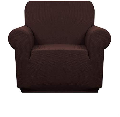 Premuim wasserabweisende Sesselüberzüge, 1 Stück, Stretch-Stuhlbezug für Wohnzimmer, rutschfester Stuhlschutz, Jacquard-Sofabezug (Schokolade, 1-Sitzer/Stuhl)