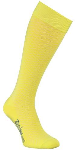 Rainbow Socks - Mujer Los Calcetines Largos Calados Finos de Algodón - 1 Par - Amarillo - Tamaños 36-38