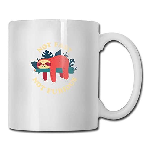 Taza de cerámica blanca Taza de café Taza de café divertida única Novedad Taza de viaje Not Fast Not Furious Tazas de té y café para hombre y mujer 330 ml