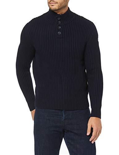 NORTH SAILS Uomo Maglione con Mezza Abbottonatura in Blu Navy Misto Lana/Cotone vestibilità Aderente con Trama a Costine e Collo Alto - L