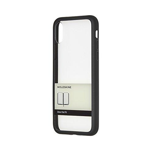 Moleskine - iPhone hoes doorzichtig - hard etui met papieren banderol design voor iPhone X - zwart