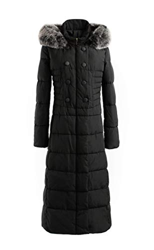 Polydeer Women's Puffer Jacket Max Long Thickened Hooded Coat Vegan Down Winter Parka (Black, L)