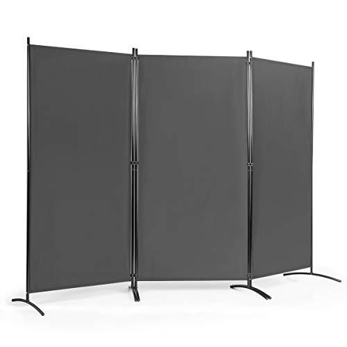 COSTWAY Raumteiler mit verstellbaren Untersetzern, Trennwand Paravent Wand Sichtschutz Wandschirm (Grau, 3-teiliger)