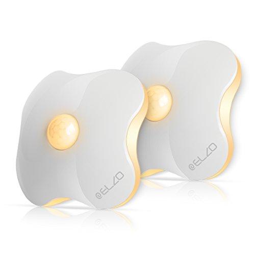 ELZO Nachtlicht mit Bewegungsmelder, LED Bewegungsmelder Licht, Auto ON/Off Nachtlicht, Batterie-Powered Treppen Licht, Schrankleuchten, Schrank Lichter für Flur, Schlafzimmer (2er Set)