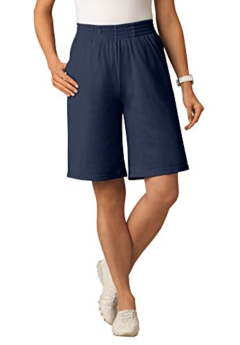 Woman Within Women's Plus Size Jersey Knit Short - L, Navy Blue