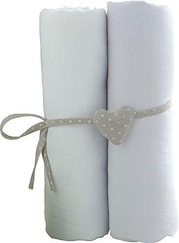 Lot de 2 draps housse blancs Babycalin - 70x140 cm