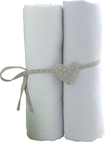 Lot de 2 draps housse blancs Babycalin - 70x140 cm