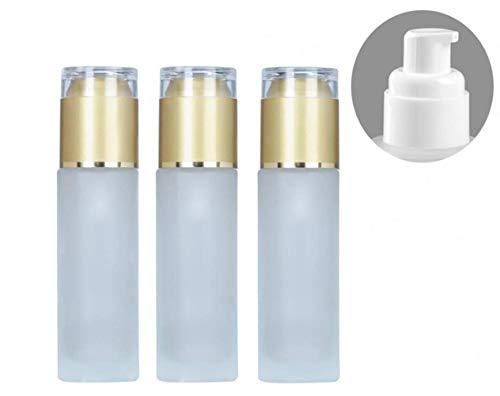 3 stks 20 ml mat helder glas cosmetische pomp fles potten met acryl gouden pet