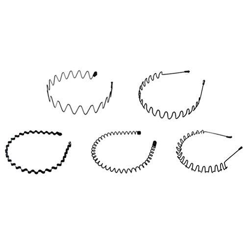 WBTY Bandas de pelo onduladas de metal, unisex, 5 unidades, color negro, con espiral, para hombres y mujeres, pelo multiestilo, antideslizante, accesorio para la cabeza
