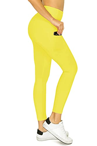 YL77AC25-BLAZINGYELLOW-S High Waisted 7/8 Leggings Workout Yoga Pants with Side & Inner Pockets, Small