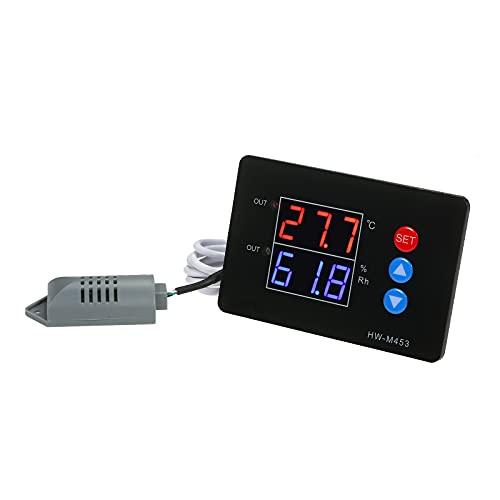 Controlador de Temperatura y Humedad DC12 / 24V Salida de relé Doble -40~230 ℉ Controlador de humidistato de termostato Digital con sonda de Sensor para Tienda de Cultivo de sótano