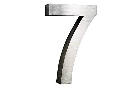 Hausnummer 7 Edelstahl 3D Arial rostfrei witterungsbeständig 25cm Höhe und 3cm Tiefe XXL Größe aus gebürstetem Edelstahl V2A ALLE erhältlich 0 1 2 3 4 5 6 7 8 9 A B C D E