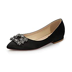 Comfort Flat Rhinestone Pointy Toe Slip On Black Shoes