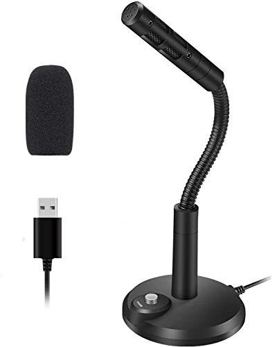 Microfono per computer, USB da tavolo con pulsante Mute per videoconferenze aziendali, lezioni online, registrazione, podcasting, giochi, chat, Skype, compatibile con PC, computer portatile, Mac