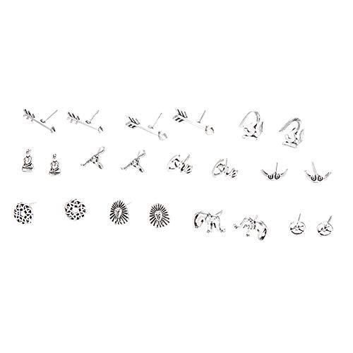 Dosige Pendientes Creativo aleacin de Disfraz Retro Flecha Amen Signo de la Paz Vaca Cabeza Elefante Estatua de Buda satlite, 11Pares