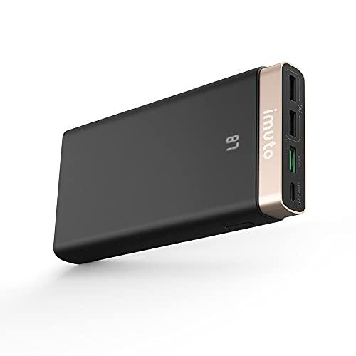 imuto Batería Externa 20000mAh, Power Bank USB C con PD QC 3.0 18W Cargador Portátil Carga Rápida Compatible con iPhone 12 Pro Max 11, Samsung S10, Nintendo Switch, iPad Pro, MacBook y más