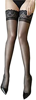 Kffyeye Ultra Thin Sheer Thigh High Rib Silky Control Top Tight, Ultra Shimmery Footed Top Stockings