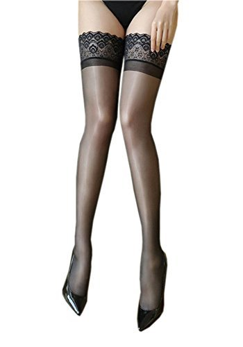 Kffyeye 0907 Lace Thigh High Sheer Hold Up Pantyhose Stockings, Ultra Shimmery Plus Footed Deep Wide Silicone Top 15 Den Tights(1pcs Black)