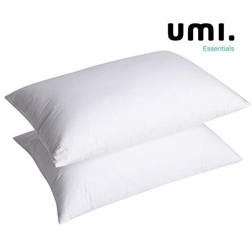 UMI Essentials - Pack 2 Almohadas de Plumas de Ganso Blanco en Percal de Algodón 100%. Almohada Natural de Calidad hotelera, Hinchable y Suave (48 x 74 cm, Firme)