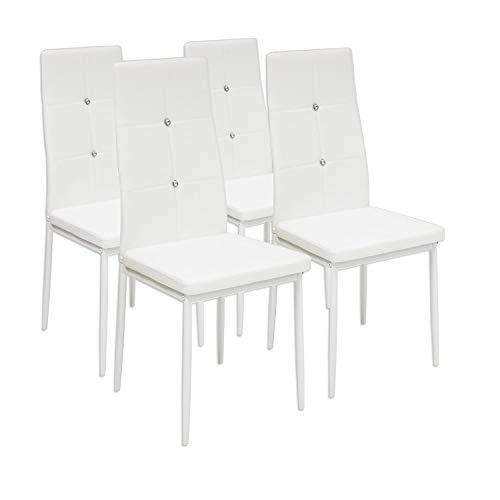 Albatros 3095 Diamond Set de 4 sillas de Comedor, Blanco, SGS Tested