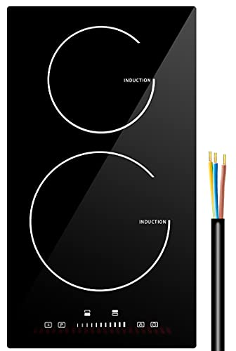 Induction Cooktop 2 Burner, 12 Inch Electric Cooktop 240V Fast Heat Built-in Electric Stove Top Smoothtop Style Induction Burner with 9 Heating Level, Kid Safety Lock and Timer
