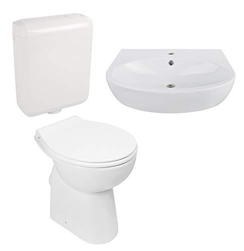 Calmwaters® - Komplettset aus erhöhtem Stand-WC ohne Spülrand, WC-Sitz, Spülkasten & 60 cm großes Waschbecken - 99000198