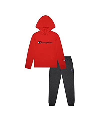 Champion Camiseta de manga larga con capucha y cuello redondo para niños y niñas, pantalón deportivo de forro polar de 2 piezas, Escarlata/Granito Heather Classic Script, 18 meses