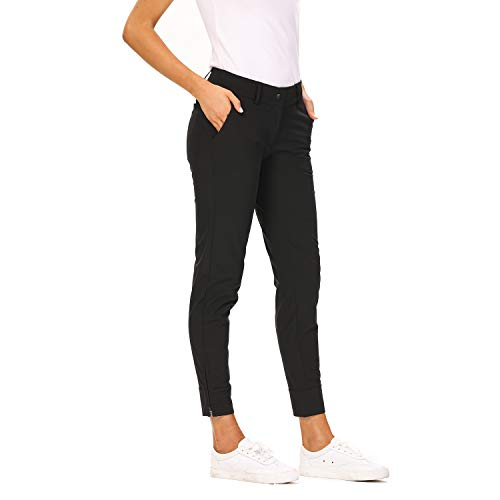 Women Pro Golf Pants Flat Front Lightweight Breathable Straight Ankle Pants with Zipper Pockets Black