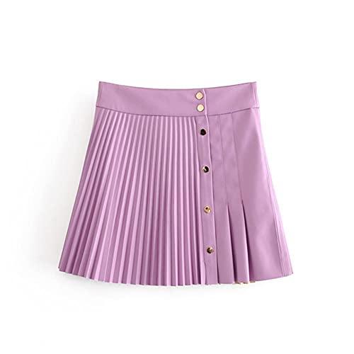 UKKD Falda Tenis Mujer Mujeres Vintage Alta Cintura De Cuero Plisado Plisado Mini Falda De Las Señoras Botones Delanteros Casuales Chic Faldas