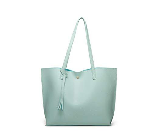 Women's Soft Faux Leather Tote Shoulder Bag from Dreubea, Big Capacity Tassel Handbag Aquamarine