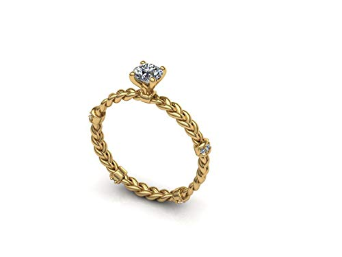 Breaded engagement ring 14k yellow gold with 0.25ct center diamond (0.25 Ct Center)
