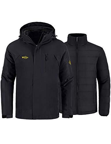 Wantdo Men's 3-in-1 Ski Jacket Winter Parka Detachable Puffer Liner Black M