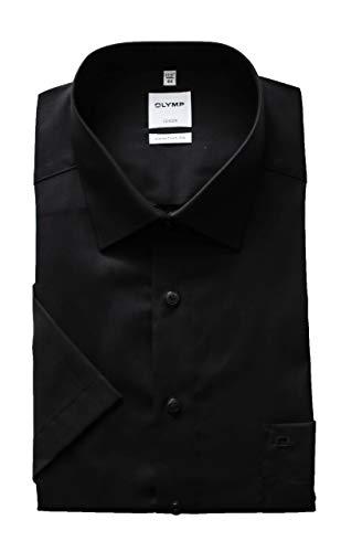 OLYMP Herren Hemd Comfort Fit Kurzarm, schwarz, New Kent Kragen Gr. 44