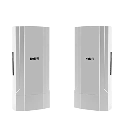 KuWFi 2-Pack Outdoor 5KM Point to Point Wireless Bridge High Power Wireless Access Point 11AC 1200Mbps 2.4&5.8G Extender WiFi Repeater for IP Camera POE Switch WiFi Coverage 48V POE Included