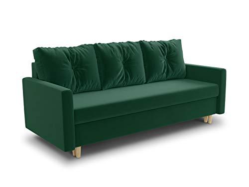Schlafsofa Rico - Couch mit Schlaffunktion Sofa mit Bettkasten Bettfunktion Bettsofa Skandinavisch Polstergarnitur Bonell-Ferderkern Velours (Grün (Kronos 19))
