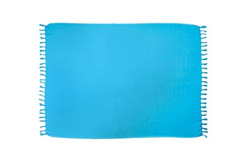 MANUMAR Damen Pareo blickdicht, Sarong Strandtuch in himmelblau mit Schnalle, einfarbig, Sommer Handtuch 155x115cm, Hippie Sommer Kleid Sauna Hamam Lunghi Bikini Coverup Strandkleid