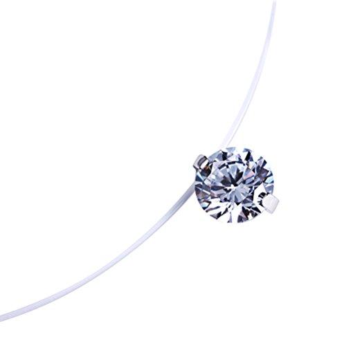 LUOEM Mode 0.6 cm Zircon Pendentif Collier Invisible Ligne De Pêche Collier pour Femmes Bijoux Décoration, cadeau pour amant