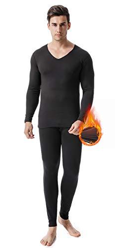 Men's Thermal Underwear Sets Cotton Ultra Soft Sport Base Layer for Male V Neck Top Bottom Set/Black S