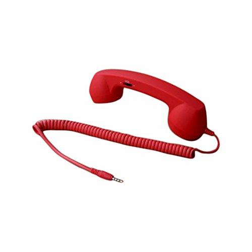 Demarkt Retro Telefonhörer Lautsprecher Handset Mikrofon Hörer Headsets für Smartphones und Handys Tablet PC,für iPhone 4 5 Galaxy Tab P1000 Asus Nexus 7 Win 8 Surface S2 S3 i9300 Rot