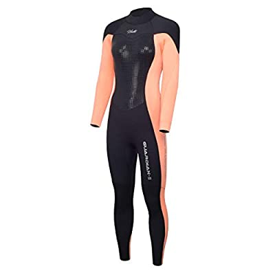 Hevto Wetsuits Women 3mm Neoprene CR Full Scuba Diving Suits Surfing Swimming Long Sleeve Glued and Blind Stitched Keep Warm Back Zip (Orange Women ?, XS)