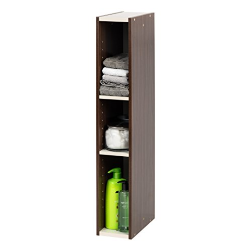 IRIS USA, Inc. Slim Space Saving Shelf with Adjustable Shelves, 6'W x 34'H, 6-Inch, Walnut Brown