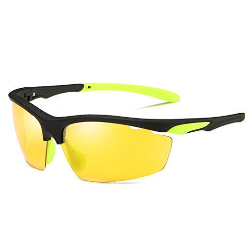MIMIOOORE Gafas de Sol Deportivas de conducción de la protección UV400 Ciclismo Pesca Correr Masculino Golf Classic Semi-sin Montura Estilo polarizado (Color : Yellow)