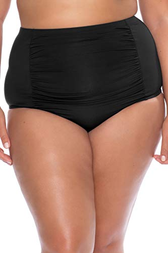 Becca Etc by Rebecca Virtue Women's Plus Size Shirred High Waist Bikini Bottom Black 1X