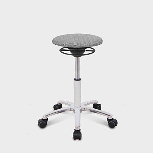 BALIMO ROLL, Bürohocker, Sitzhocker, ergonomischer Rücken-Trainer, Bezug hellgrau