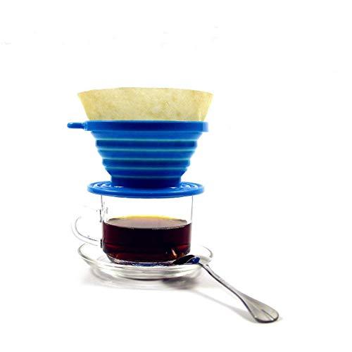 Kuke Kaffeefilter aus Silikon, faltbarer Kaffeetropfer, Filterkegel mit 100 Stück Papierfilter für Outdoor, Camping, Reisen und Büro 4*2.5inch blau
