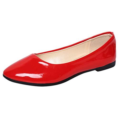 Damen Geschlossene Ballerinas Lackleder Flache Schuhe, Frauen Klassische Ballerinas Elegante Mokassins Bequeme Loafer Schöner Damenschuhe Celucke (Rot, 42 EU)