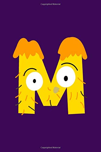 M: Monster Initial Monogram Letter M College Lined Notebook Nifty Blank Wide Ruled Notebook & Diary for Taking Note & Writing for Kids