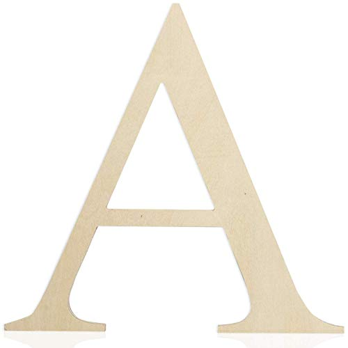 Wooden Letters 12 Inch (Letter A) Unfinished Wood Letters for Wall Décor, Crafts & Weddings. Wall Letter Signs for Home Decoration Painting with Full Alphabet Range Available - 0.5 Inch Thickness