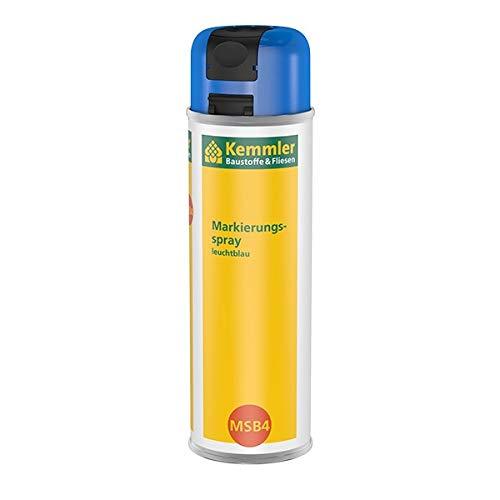 Kemmler Markierungsspray MSB4 Leuchtblau - hochdeckender intensiver Leuchtkraft für dauerhafte belastbare Markierungen 360° Ventil mit Einhand-Sicherheitskappe Schnelltrocknend & Kratzfest 500 ml
